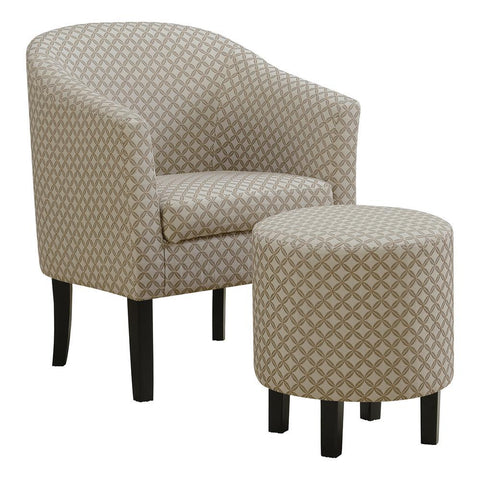 Monarch I 8323 Accent Chair - 2Pcs Set / Dark Taupe Geometric Fabric