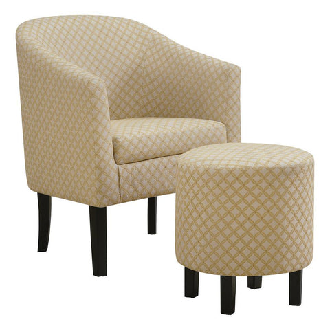 Monarch I 8324 Accent Chair - 2Pcs Set / Light Yellow Geometric Fabric