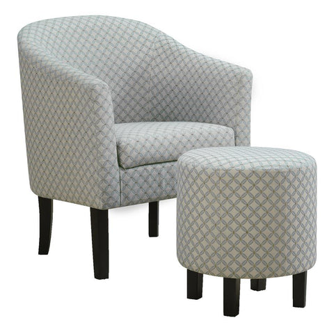Monarch I 8325 Accent Chair - 2Pcs Set / Light Blue Geometric Fabric