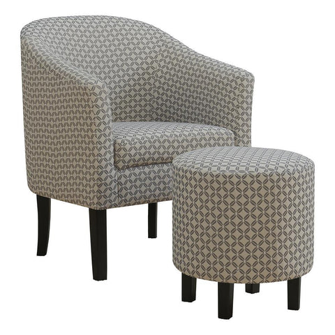 Monarch I 8326 Accent Chair - 2Pcs Set / Dark Grey Geometric Fabric