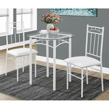 Monarch Specialties 1001 3 Piece Dining Room Set in White Metal & Tempered Glass