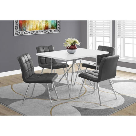 Monarch Specialties 1038 Rectangular Dining Table in White & Chrome Metal