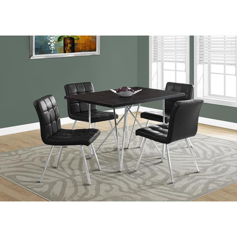 Monarch Specialties 1039 Rectangular Dining Table in Cappuccino & Chrome Metal