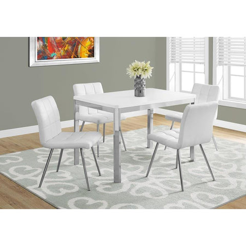 Monarch Specialties 1041 Rectangular Dining Table in White & Chrome Metal