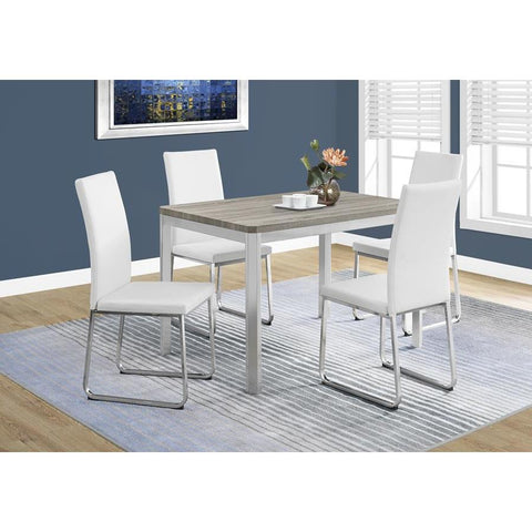 Monarch Specialties 1042 Rectangular Dining Table in Dark Taupe & Chrome Metal