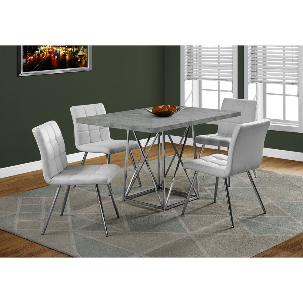 Monarch Specialties 1043 Dining Table In Grey Cement Chrome Metal
