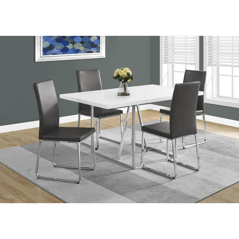 Monarch Specialties 1063 Rectangular Dining Table in White & Chrome Metal