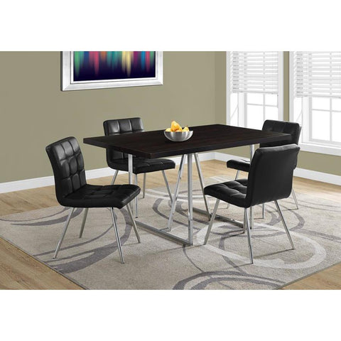 Monarch Specialties 1064 Rectangular Dining Table in Cappuccino & Chrome Metal