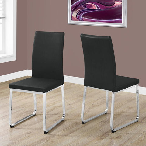 Monarch Specialties 1092 38 Inch Dining Chair in Black Leather & Chrome - Set of 2