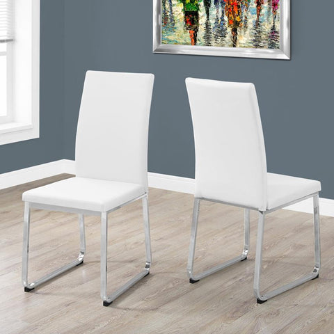 Monarch Specialties 1093 38 Inch Dining Chair in White Leather & Chrome - Set of 2