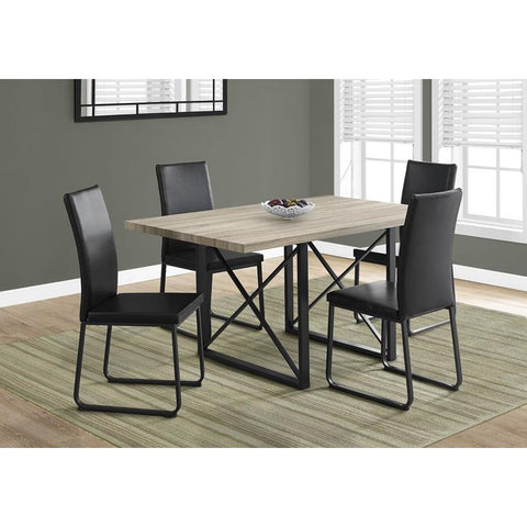 Monarch Specialties 1100 Rectangular Dining Table in Dark Taupe & Black Metal