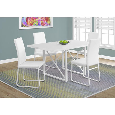 Monarch Specialties 1101 Rectangular Dining Table in White Glossy & White Metal