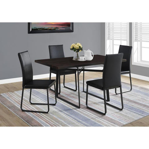 Monarch Specialties 1105 Rectangular Dining Table in Cappuccino & Black Metal