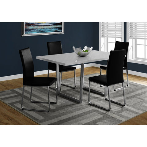 Monarch Specialties 1118 Dining Table in White Glossy & Chrome Metal