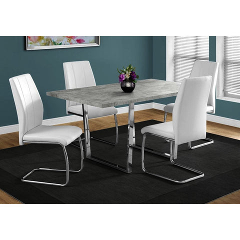 Monarch Specialties 1119 Dining Table in Grey Cement & Chrome Metal