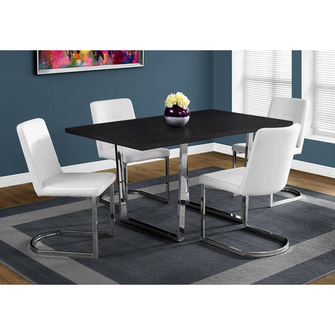 Monarch Specialties 1120 Dining Table in Grey & Chrome Metal