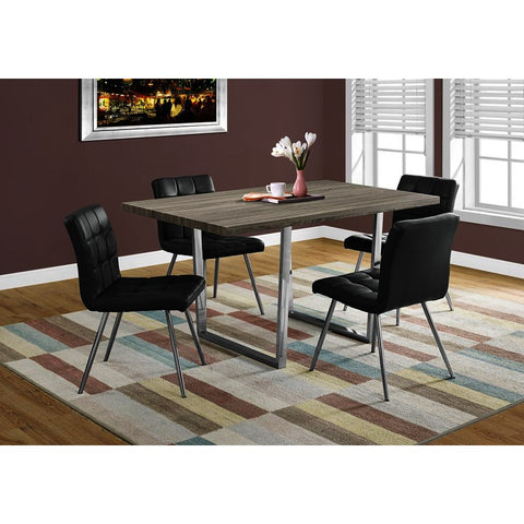 Monarch Specialties 1121 Dining Table in Dark Taupe & Chrome Metal