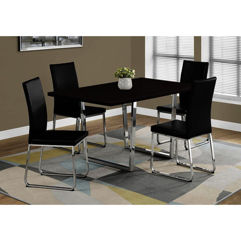 Monarch Specialties 1122 Dining Table in Cappuccino & Chrome Metal