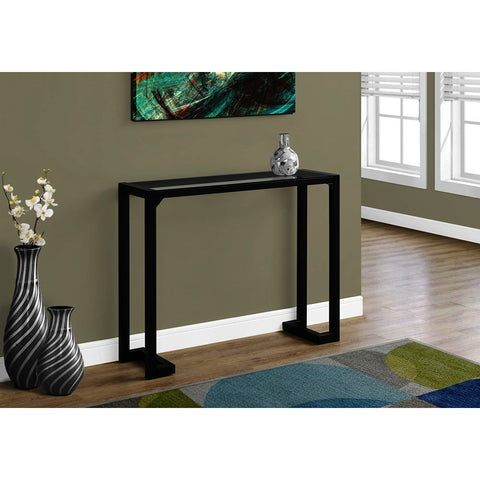 Monarch Specialties 2106 Accent Table in Black - Tempered Glass Hall Console
