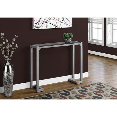 Monarch Specialties 2107 Accent Table in Silver - Tempered Glass Hall Console