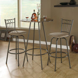 Monarch Specialties 2310 Round Marble Top Bar Table in Cappuccino