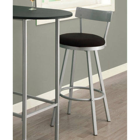 Monarch Specialties 2332 Swivel Barstool w/ Low Back in Silver