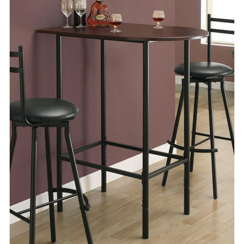 Monarch Specialties 2345 Cappuccino Spacesaver Bar Table w/ Black Metal Base