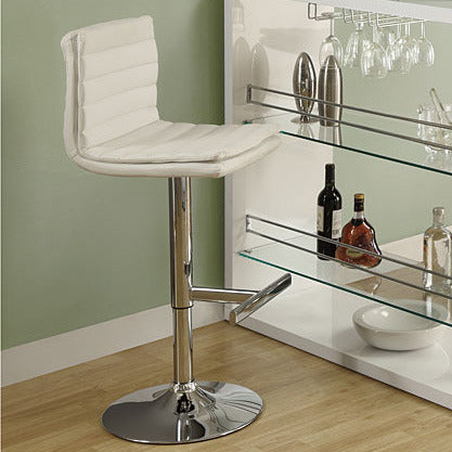 Monarch Specialties 2355 Hydraulic Lift Barstool in White & Chrome