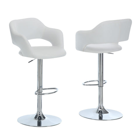 Monarch Specialties 2358 Hydraulic Lift Barstool in White & Chrome