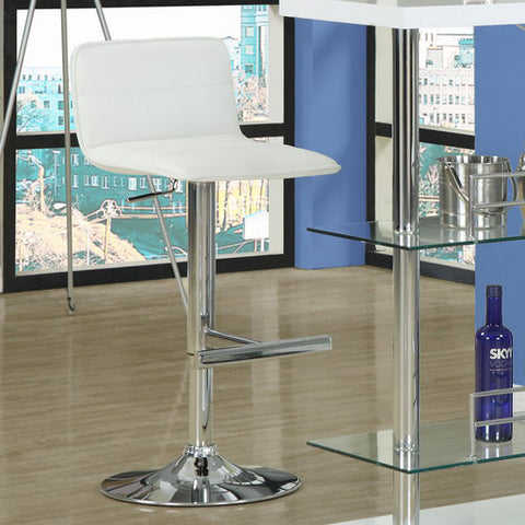 Monarch Specialties 2365 Hydraulic Lift Barstool in White & Chrome