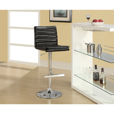 Monarch Specialties 2430 Hydraulic Lift Barstool in Dark Brown w/ Chrome Metal