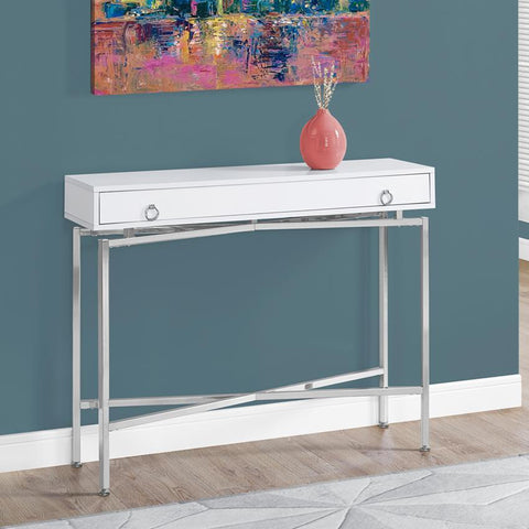 Monarch Specialties 2443 42 Inch Glossy White & Chrome Hall Console