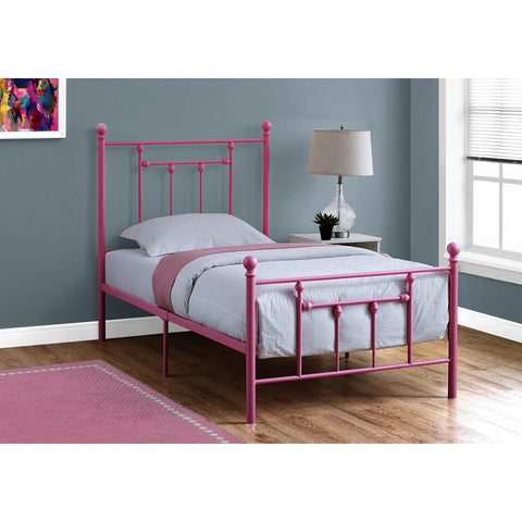 Monarch Specialties 2634T Twin Metal Bed Frame in Pink