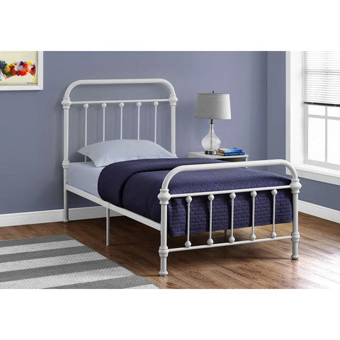 Monarch Specialties 2637 Metal Bed Frame in White