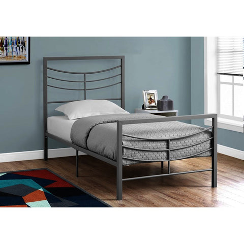 Monarch Specialties 2642 Metal Bed Frame in Silver