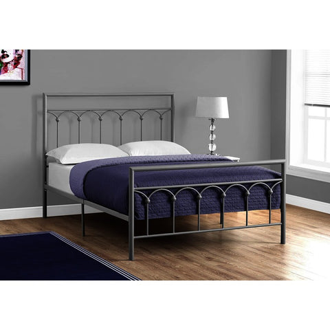 Monarch Specialties 2656 Metal Bed Frame in Silver