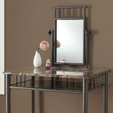 Monarch Specialties 3042 2 Piece Vanity Set in Bronze & Cappuccino Marble