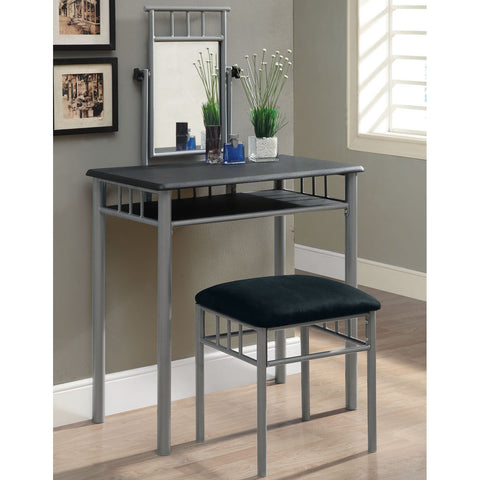 Monarch Specialties 3092 2 Piece Vanity Set in Black & Silver