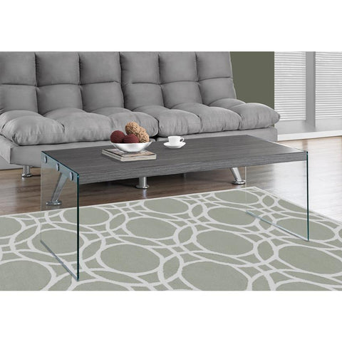 Monarch Specialties 3220 Tempered Glass Coffee Table in Grey