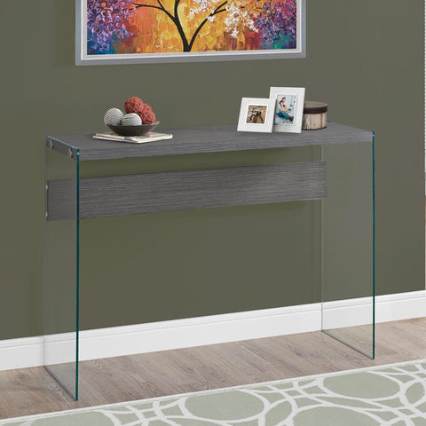 Monarch Specialties 3222 Tempered Glass Console Table in Grey