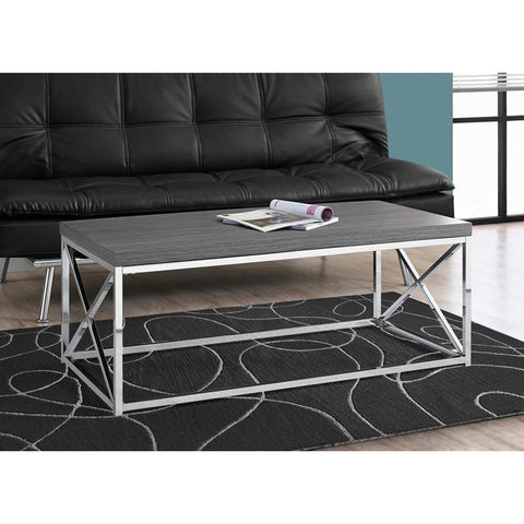 Monarch Specialties 3225 Coffee Table in Grey w/Chrome Metal