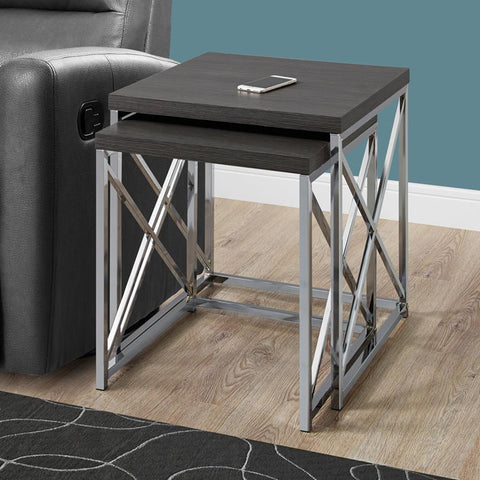 Monarch Specialties 3226 Nesting Table in Grey w/Chrome Metal - 2 Piece Set
