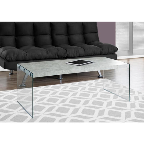 Monarch Specialties 3230 Coffee Table in Grey Cement w/Tempered Glass