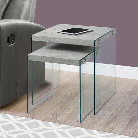 Monarch Specialties 3231 Nesting Table in Grey Cement & Tempered Glass - 2 Piece Set