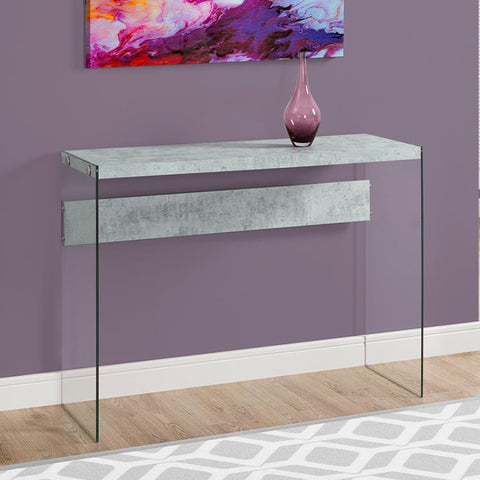 Monarch Specialties 3232 Console Table in Grey Cement w/Tempered Glass