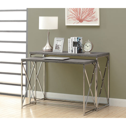 Monarch Specialties 3257 2 Piece Nesting Table Set in Dark Taupe w/ P!hrome Metal