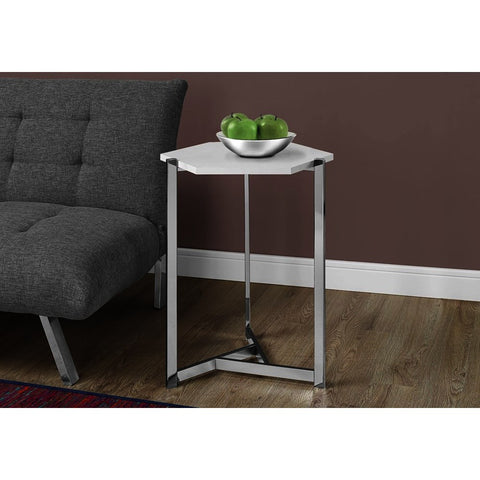 Monarch Specialties 3275 Hexagon Accent Table in Glossy White & Chrome Metal