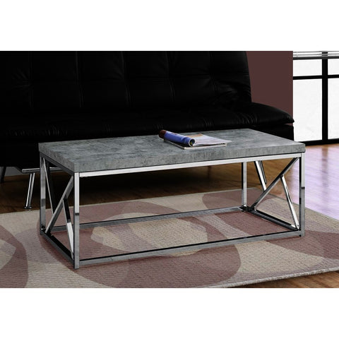 Monarch Specialties 3375 Coffee Table in Grey Cement w/Chrome Metal
