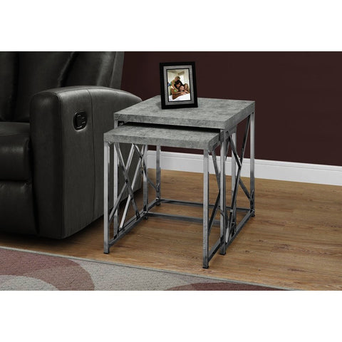 Monarch Specialties 3376 Nesting Table in Grey Cement w/Chrome Metal - Set of 2