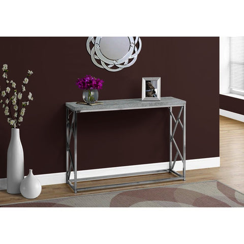Monarch Specialties 3377 Console Table in Grey Cement w/Chrome Metal